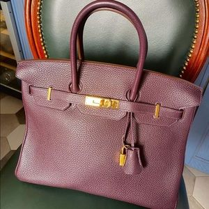 Hermès Birkin 35 wine color gold hardware togo